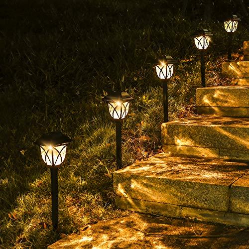 LED Solarleuchten Garten, 6 Stück Warmweiß Solarlampen für außen Garten, IP65 Wasserdicht Görvitor Dekorative Solar Gartenleuchten für Rasen Gehweg Landschaft