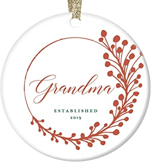 New Grandma Established 2019 Christmas Ornament First-Time Grandmother Gift Pregnancy Baby Grandchild Announcement Elegant Sprig & Cursive Design Cute Ceramic Keepsake 3