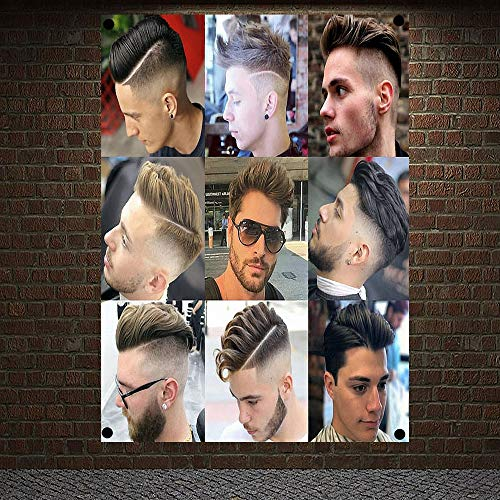 Classic Pompadour Men's Beard Hairstyle Barber Shop Decor Wall Chart Flag Canvas Painting 96x144 cm (38X57 inches) GY01