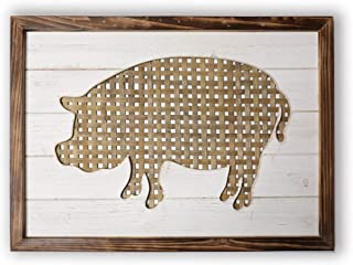 Rustic Farmhouse Wall Decor - Pig Silhouette on a Bamboo Weaving Texture Background - Primitive Handcraft Wood Plaque Wall Art for Home and Kitchen