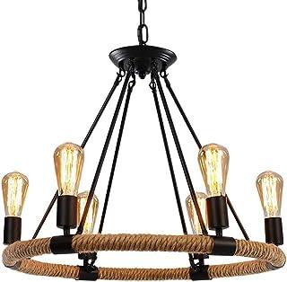 Lámpara de techo de la lámpara de la araña de la cuerda del cáñamo de la vendimia industrial Lámpara de la iluminación del metal del colgante rústico para la sala de estar de la isla Café del sótano B