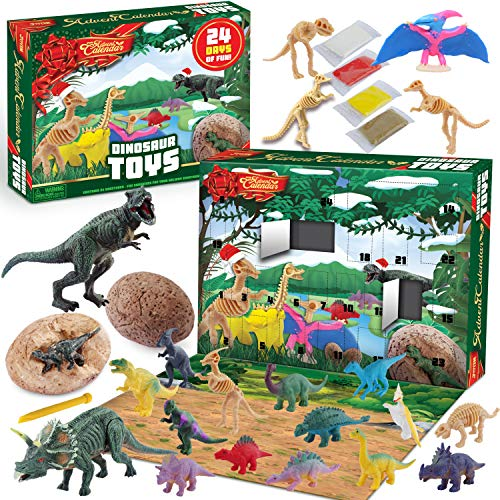 JOYIN 2020 Dinosaur Advent Calendar Kids Christmas 24 Days Countdown Calendar Toys for Kids with Dinosaur Toy Figures