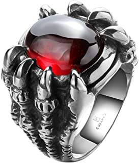 UFOORO Red Stone Stainless Steel Rings for Men 316L Vintage Evil Jewelry