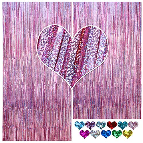 CYLMFC Foil Curtain Backdrop Light Purple - 2 Packs 3ftx8ft Streamers Tinsel Backdrop for Birthday Party Supplier Bridal Shower Mermaid Party Decorations