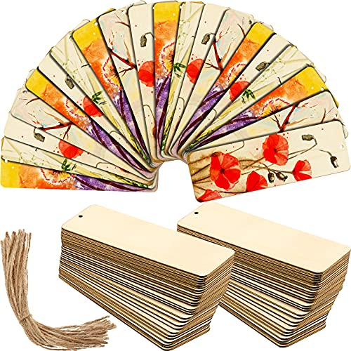 36 Sets Large Size Wood Blank Bookmarks Rectangle Shape Blank Hanging Tags Unfinished Wooden Book Markers Ornaments with Holes and Ropes for DIY Crafts, Wedding Birthday Party Decors, 6 x 2 Inch