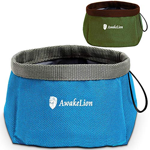Awakelion Collapsible Dog Bowl 2 Pack , Portable Travel Pet Bowl For Food And Water,Perfect for Medium & Large Dog (2000ML)