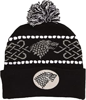 HBO Game of Thrones Stark Logo Cuffed Adult Beanie with Pom Black