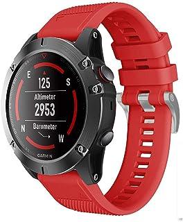 Meoket Compatible para Garmin Fenix 5/Fenix 5 Plus/Forerunner 935/Approach S60/Quatix 5,Reemplazo de Silicona de Reloj Correa 22mm (Rojo)