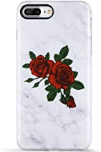 VIVIBIN iPhone 8 Plus Case for Girls,iPhone 7 Plus Case,Cute Red Roses Grey Marble for Women Clear Bumper Protective Silicone TPU Cover Slim Fit Phone Case for iPhone 7 Plus/8Plus