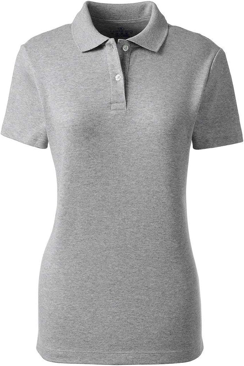 Lands' End School Uniform Women's Short Sleeve Feminine Fit Interlock Polo Shirt