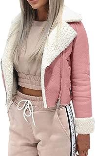 Sturrly🌻Faux Suede Jackets for Women Long Sleeve Zipper Short Moto Biker Coat