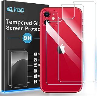 """ELYCO pour iPhone 11 6,1"""" Arrière Verre Trempé, [2 Pièces] 9H Dureté Anti-Huile/Anti-Chute/Anti-Rayures/Anti-Empreinte/Ant..."""