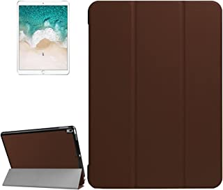 LFPING for iPad Pro 10.5 inch PU Litchi Texture 3-Folding Smart Case Clear Back Cover with Holder for iPad Pro 10.5 inch (Color : Brown)