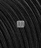 Merlotti Câble électrique rond recouvert de tissu coloré noir 3x 0,75pour lustres, lampes, abat-jours design. Fabriqué en...