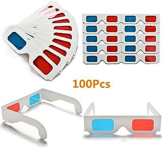 MeterMall 50/100ピースユニバーサルペーパーアナグリフ3Dメガネペーパー3Dメガネビューアナグリフ赤/青3Dガラス用映画ビデオ 50個