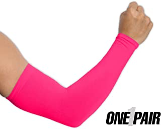 UV Protection Cooling Arm Sleeves - UPF 50 Compression Sun Sleeves for Men & Women for Running, Cycling, Fishing, Golf, Volleyball, Basketball, Baseball & Football - Skin Cancer Foundation Recommended