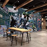 YIERLIFE Autoadhesivo Tela no tejida 3D infantil mural - Personalidad creativa hip-hop graffiti música street dance - 3D Papel Pintado Pared Fotomurales Tejido No Tejido Foto Mural Moderna Diseño Mura