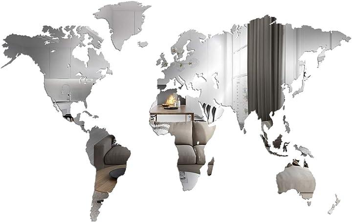 Specchio - mappa del mondo - decorazione da parete a specchio - 190x105 cm - giallobus B085TDCWP4
