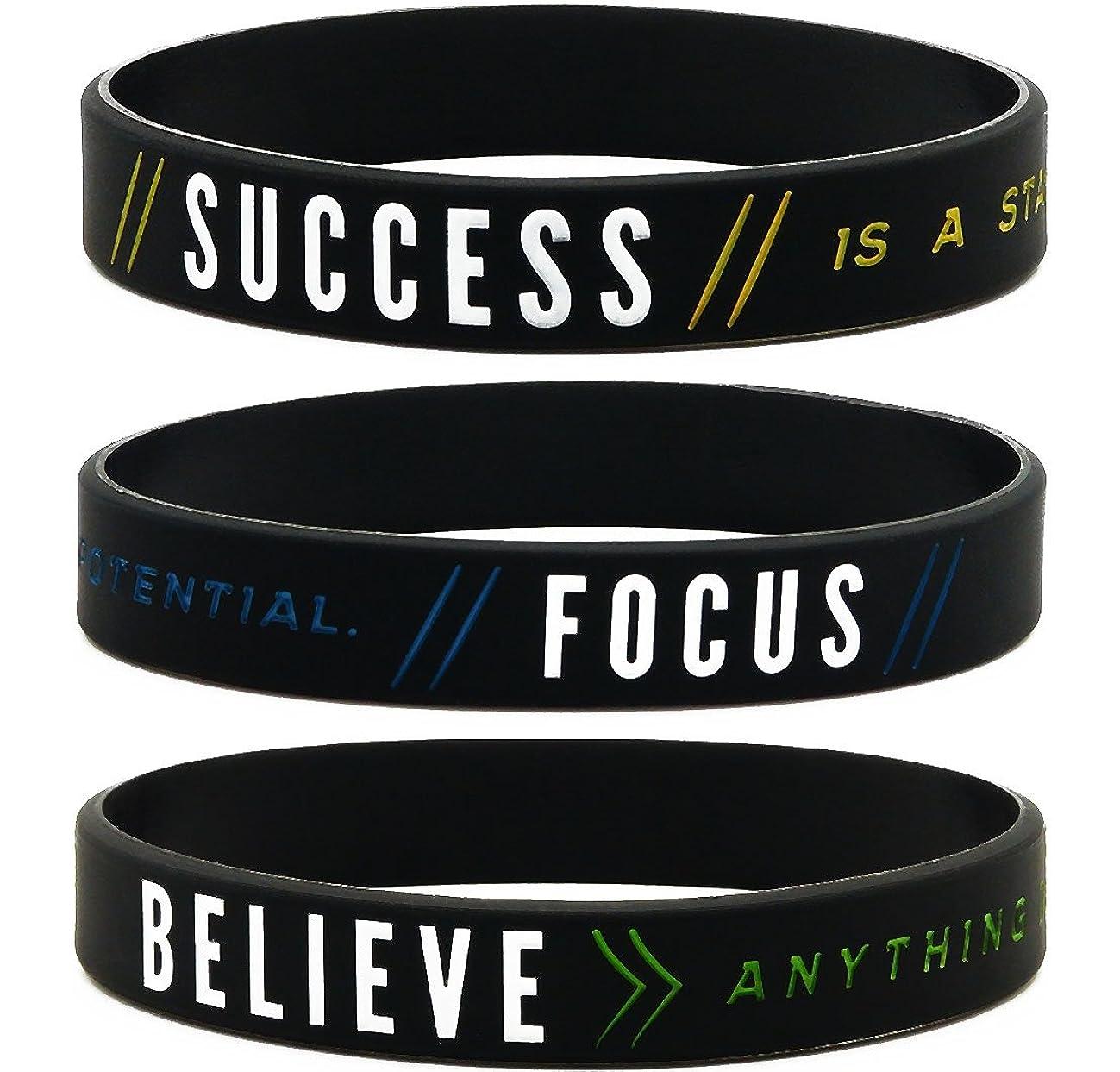 (12-pack) Motivational Silicone Wristbands -Success, Focus & Believe Wholesale Bulk Pack of 12 Silicone Bracelets - Motivation Encouragement Achievement Gifts Party Favors for Adults