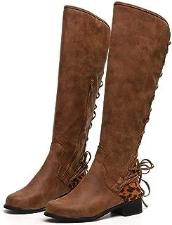 Wllsagl Xouwvpm Ladies Over The Knee Length Boots Women's Cross Tie Leopard Patchwork Zipper Long Boots Retro Flock Round Toe Low Heel Shoes