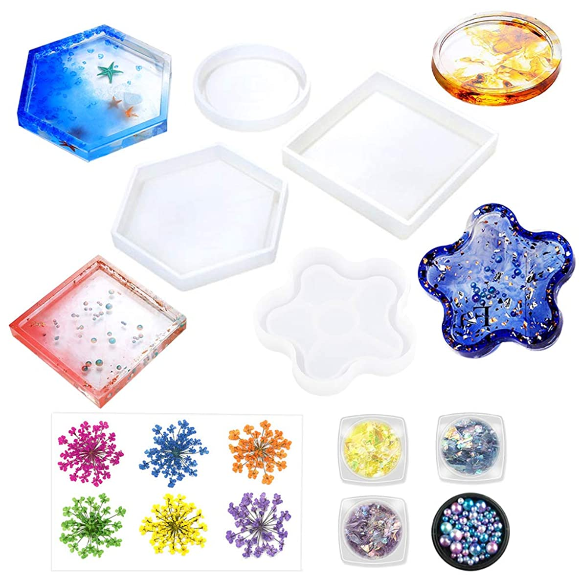 Jatidne Resin Molds Coaster Silicone Molds for Resin Epoxy Casting Molds 4 Pieces Shapes with Flowers and Beads DIY Craft Making