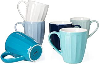 Sweese 602.003 Porcelain Fluted Mugs - 14 Ounce for Coffee, Tea, Cocoa, Set of 6, Cool Assorted Colors