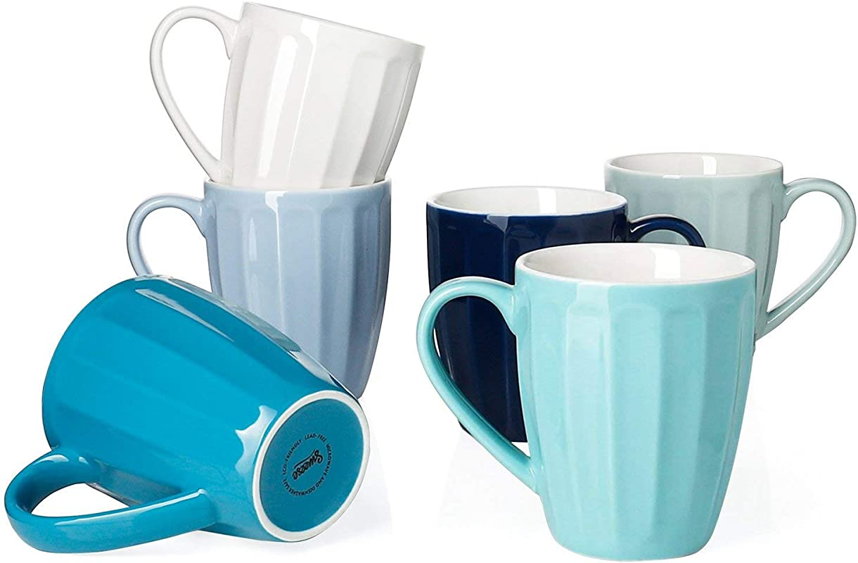 Sweese 602 003 Porcelain Fluted Mugs 14 Ounce For Coffee Tea Cocoa Set Of 6 Cool Assorted Colors
