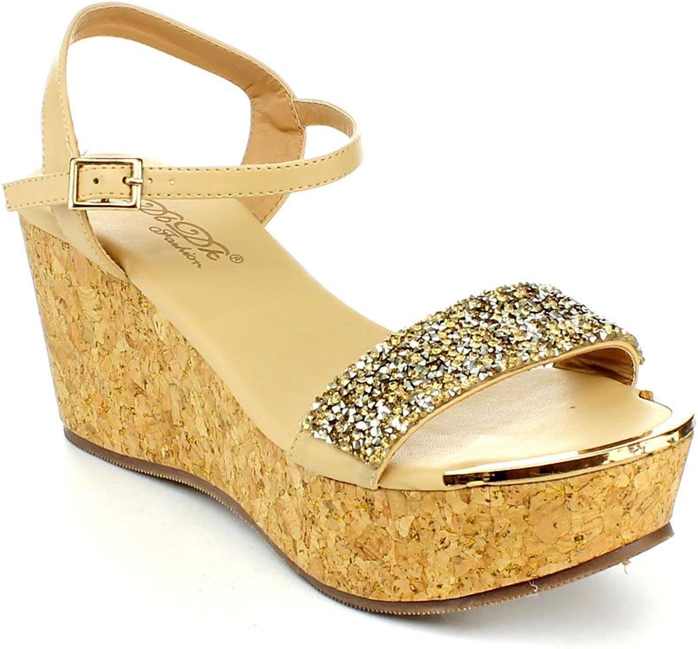 DBDK Womens Laveda-1 Ankle Strap Cork Wedge Platform Sandals