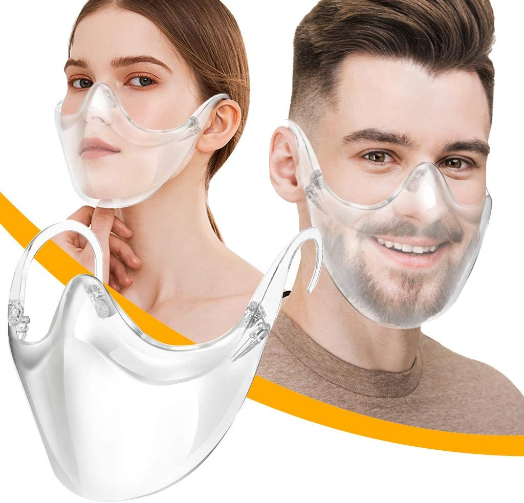 Nose Snakell Adults Clear Face/_Shields Transparent Anti Fog Shields Durable Plastic Reusable Glasses Designed Shields Lightweight Face Covering to Protect Eyes Mouth for Men Women