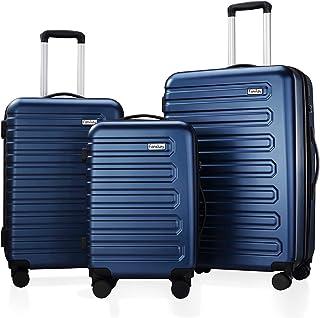 Fanskey Luggage, 3 Piece Set Suitcase with Spinner wheels, Hardshell, Lightweight, TSA Lock (Navy Blue)