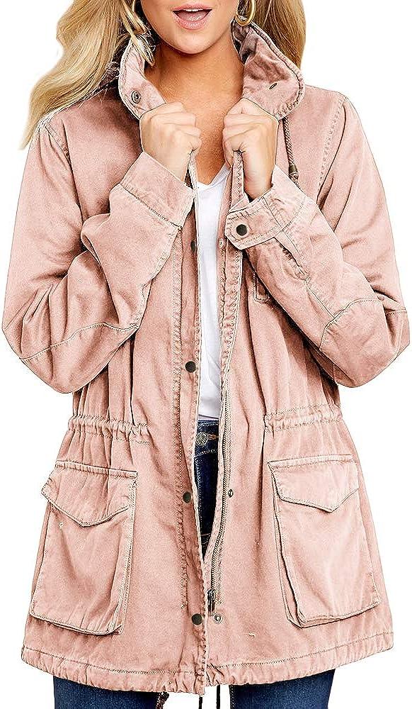 Imily Bela Damen /Übergangsjacke Parka Lang mit Kapuze Utility Jacket Mantel Winter Boyfriend