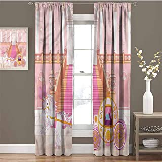 GUUVOR Teen Girls Heat Insulation Curtain Fantasy Carriage Palace for Living Room or Bedroom W72 x L108 Inch