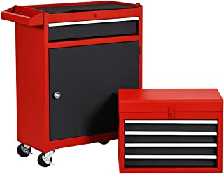 Rolling Tool Chest, Removable Tool Cabinet, Metal Box w/ 5 Drawers (Mixed Color)