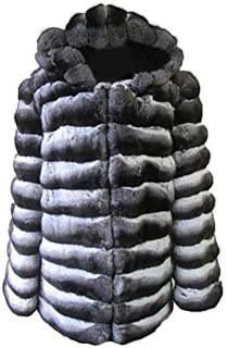 Men's New Chinchilla Fur Coat Jacket with Hood Grey