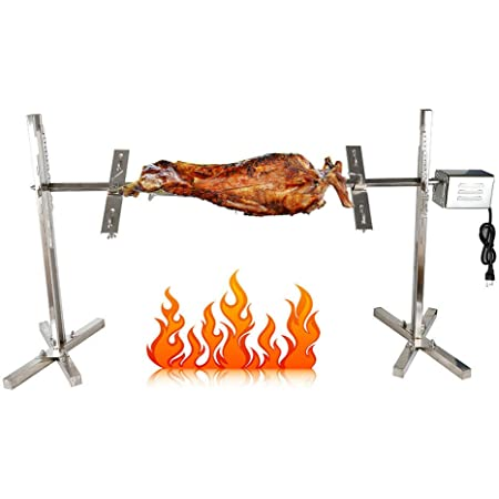 DNYSYSJ BBQ Electric Roaster Picnic Outdoor Cooker 110V 15W Grill Stainless Steel 66 lbs Capacity for Rotisserie Pig Hog Lamb