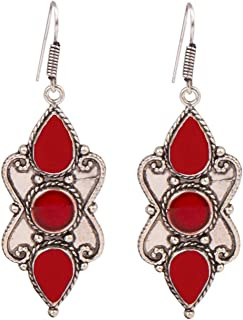 Sansar India Silver Plated Oxidized Colored Drop Earrings for Girls and Women