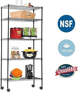 """BestOffice 5 tier Wire Shelving Unit Heavy Duty for for Garage Office kitchen on Wheels 14""""D x 30""""W x 60""""H,Black, x x"""