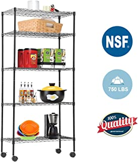 "5-Tier Wire Shelving Unit Steel Large Metal Shelf Organizer Garage Storage Shelves Heavy Duty NSF Height Adjustable Commercial Grade Utility Storage Metal Rack on Wheels 14""D x 30""W x 60""H,Black"