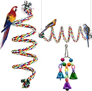 """GINXIA Parrot Rope Perch Cotton Rope Bird Perch with Bell Climbing Stand Bar Bird Bungee Toy Parrot Chew Toys (63"""")"""