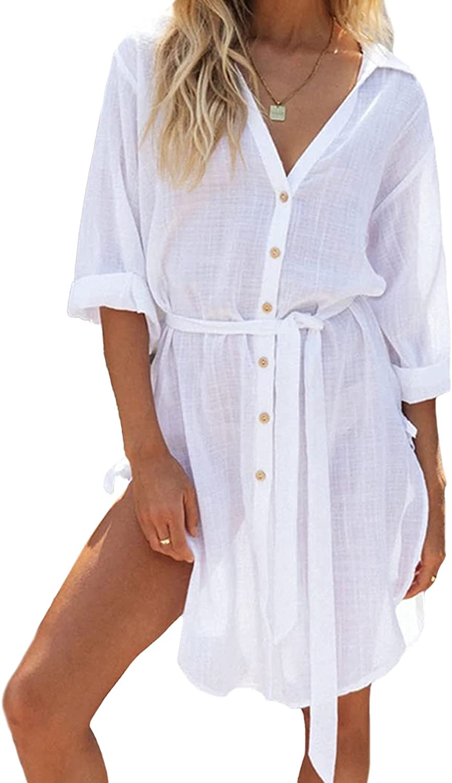 Women's Button Down Shirt Dress V Neck Swimsuit Beach Cover Ups High Split Tunic Tops