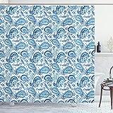 ABAKUHAUS Paisley Duschvorhang, Ikat Stil Aquarell, Wasser Blickdicht inkl.12 Ringe Langhaltig Bakterie & Schimmel Resistent, 175 x 220 cm, Weiß Blau