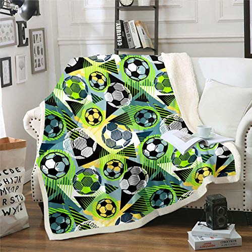 Football Sherpa Blanket, Soccer Plush Bed Blanket Twin Size For Kids Boys Girls Children Teens Sports Games Throw Blanket, Geometric Triangle Fleece Throw Lightweight For Bedroom Living Room