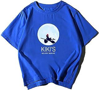 魔女の宅急便 半袖 キキ Tシャツ 100%コットン メンズ レディースに (メンズM,ブルー)