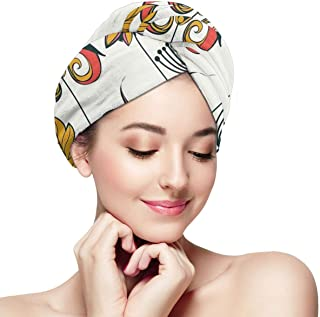 Quick Dry Hair Wrap Towels Turban,Funky Featured Different Type Of Flower Motif Love Mother Earth Themed Bohemian,Absorbent Shower Cap
