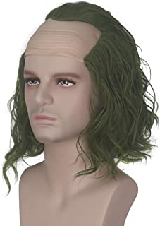 Miss U Hair Bald Wig for Adults Green Clown New Style Curly Wavy Hair Halloween Costume Wig