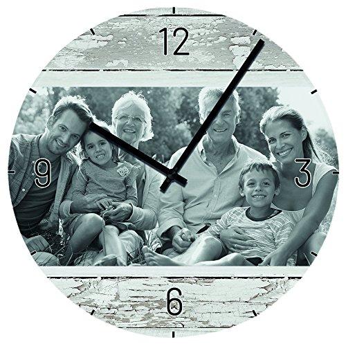 Personello® Fotouhr mit Foto personalisiert, Wanduhr geräuschlos aus Glas (29x29cm) gestalten