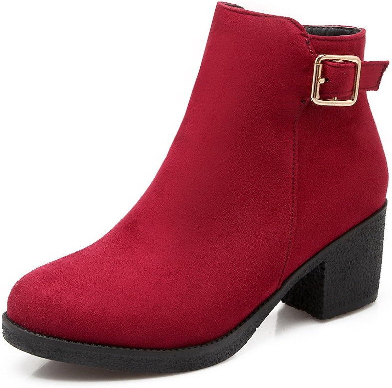 AllhqFashion Women's Zipper Kitten Heels Imitated Suede Solid Round Closed Toe Boots