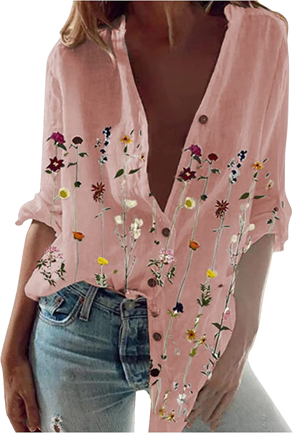 LEXUPA Tank Tops Loose Fit Causal Fashion Women's Loose Floral Printed Blouse V-Neck Buttons Casual Shirt Tops