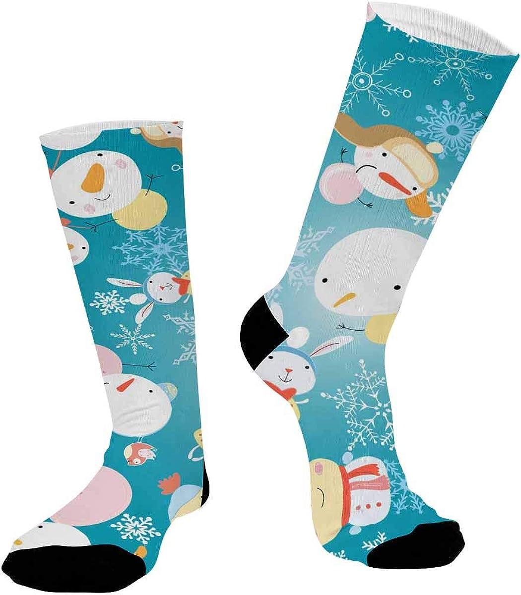 INTERESTPRINT Casual Sublimated Crew Socks Unisex Christmas Snowman Snowflake