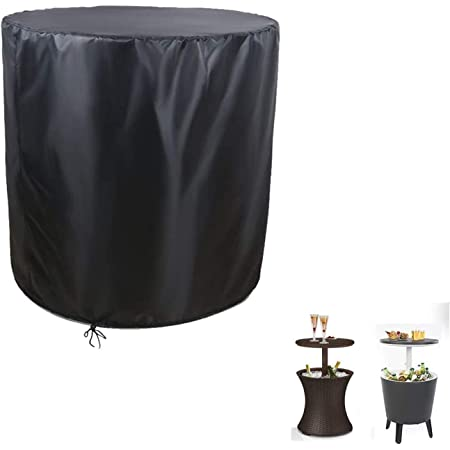 POMER Round Patio Side End Table Cover Dia 21x H 23 inch - Waterproof Dustproof Kete 7.5-Gal Cool Bar Beer & Coffee Beverage Cooler Bins Cover
